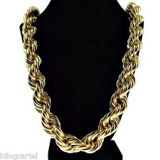 "Chunky 20mm 14k Gold Plated Hollow Thick Rope 30"" Necklace Hip Hop Dookie Chain"