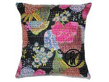 Cotton 5 Pc Lot Kantha Cushion Cover Indian Home Decor Black Color Pillow Cases