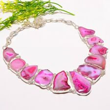 "Botswana Pink Agate Druzy Gemstone Handmade Fashion Jewelry Necklace 18"" SN-727"