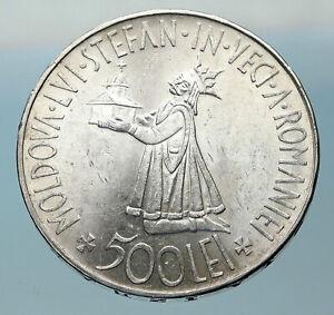 1941 ROMANIA Michael I Antique Genuine OLD Silver 500 LEI Romanian Coin i83790