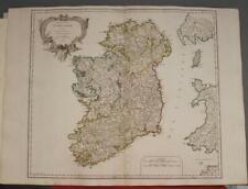IRELAND 1750 ROBERT DE VAUGONDY ANTIQUE ORIGINAL COPPER ENGRAVED MAP