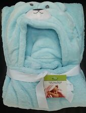 Newborn Baby Bedding Fuzzy Blanket Soft, Cozy, Snuggly Blue Bear with Hood