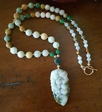 HAND STRUNG JADE GRADE A PENDANT WITH 14K GOLD FILLED BEADS & CLASP