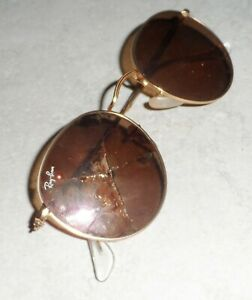RAY BAN SUNGLASSES ROUND METAL RB 3447 PINK MIRROR FOR PARTS OR REPAIR USED