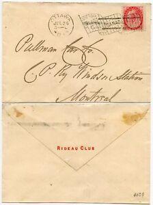 CANADA 1901 to RAILWAY PULMAN CAR CO + OTTAWA FLAG MACHINE..RIDEAU CLUB ENVELOPE