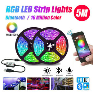 1-5M RGB LED Strip Lights Bluetooth 5050 5V USB Color Changing TV PC Back Light