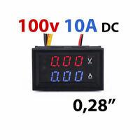 Voltimetro Amperimetro 100V 10A Digital DC con display Rojo Azul