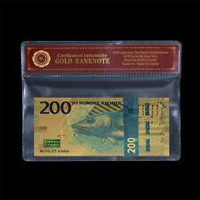 WR Norway 200 Kroner 2017 New Gold Banknotes Uncirculated Nok Norwegian Bill