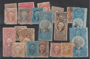 ph958 USA-Revenues 1862/98 card of various issues and values inc. $3