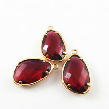 2pcs Red Glass Crystal In Gold Tone Copper Setting Pendants Charms Crafts 39139