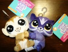 "2 Littlest Pet Shop Mini Clip-A-Pet Plush 4"" New"