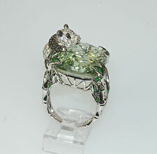 18k PRASIOLITE GREEN AMETHYST TSAVORITE GARNET DIAMOND PANDA BEAR ASIAN RING