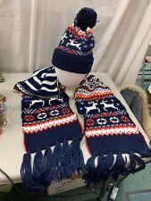 Vintage 2pc SET Ski Beanie Knit Pom Stocking Hat & Scarf Red White Blue Deer