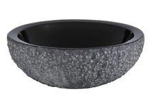 Ryvyr Xylem Round Stone Vessel Sink Black Granite Rough Exterior