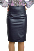 New Office Work Straight Pencil Bodycon Faux Leather Blue Skirt 8 10 12 14 16 18