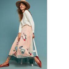 Anthropologie x Akemi + Kim  Fringed Tulle Skirt in nude/pink UK 8