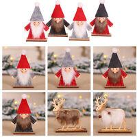 1PC DIY Merry Christmas Wooden Ornaments Santa Claus Elk Wooden Crafts Xmas-