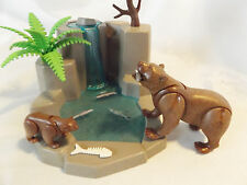 Playmobil Grizzly Bears w/ Waterfall Landscape for Zoo, Wilderness Ark Animals