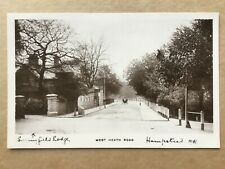 West Heath Road view + Sunnyfield Lodge (Schöder) RP postcard Hampstead London