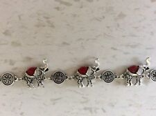 Betsey Johnson Lucky Red Elephant Silver Bracelet Brand New makes Perfect Gift!