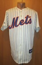NEW YORK METS HOME BASEBALL JERSEY SHIRT MAJESTIC MLB USA PINSTRIPE WHITE SIZE M