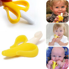 Baby Banana Toothbrush Training Brush Soft Chewable Silicone Teether Oral Care