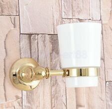 Gold Color Brass Single Tumbler Holder Toothbrush Cup Bathroom Accessory fba310