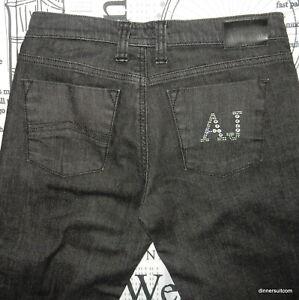 womens size 27 Armani Jeans black stretch denim AJ diamante & stud pocket detail