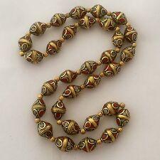 "Coral White Howlite Beads Strand Necklace 24"" Brass Tibetan Nepalese N2321"