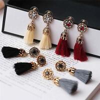 Women Bohemian Long Tassel Fringe Boho Ear Stud Dangle Statement Earrings