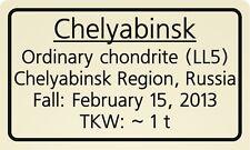 Meteorite label Chelyabinsk