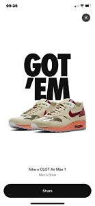 """Nike Air Max 1 x Clot """"Kiss of Death"""" (2021) size UK10 Confirmed Order"""