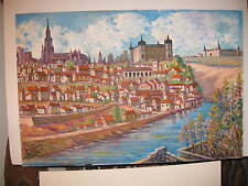 "BOWEN SIMS **ORIGINAL PAINTING Of A COLORFUL FAMOUS EUROPEAN RIVER CITY 24""x36""*"