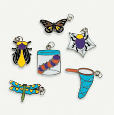 6 Bug Insect Enamel Charms Kids Crafts Butterfly Dragonfly Beetle Fly ABCraft