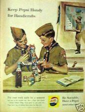 1960 Pepsi-Cola Soda-Pop Bottle Boy Scouts Handicrafts Art Paper AD