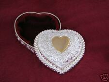 Kaitlyn Gold Heart Jewelry Box Silver Plate Filagree