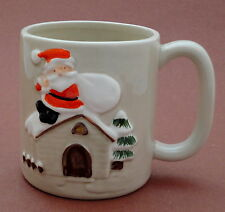 Coffee Mug Otagiri Christmas Santa w Sack Roof Top Raised Relief 13oz Pottery
