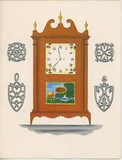 VINTAGE AMERICAN PILLAR CLOCK W/ PAINTED SCENE ROMAN NUMERALS CARD ART PRINT