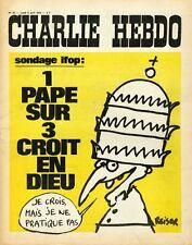 """""""CHARLIE HEBDO N°72 du 3/4/1972"""" REISER: SONDAGE IFOP 1 PAPE SUR 3 CROIT EN DIEU"""