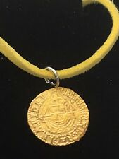 "Elizabeth I Quarter Angel Coin WC51 Gold Pewter On  18"" Yellow Cord Necklace"