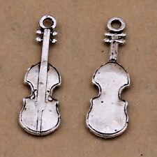 20pc Tibetan Silver Violin Pendant Bracelet Charms Jewellery Accessories PJ431