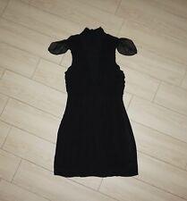 Womens SASS BIDE Silk Chiffon Dress Ruched Turtleneck Ruffle Cap Sleeve Black 2