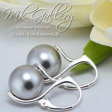 * gris claro * Perla Pendientes De Plata 925 12 mm Cristales de Swarovski ®