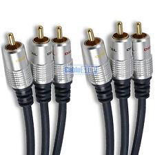 5m PRO 3 x RCA Triple Phono Cable Audio Video Composite Digital AV TV Lead 5 Mtr