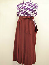 VINTAGE JINKEN WOMENS HAKAMA For Graduation/Coming of Age:Wine Red@L99a