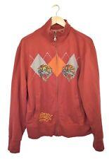 Ed Hardy Mens Hoodie Jacket Sweatshirt XL Red Tiger Argyle Zip Up Long Sleeve