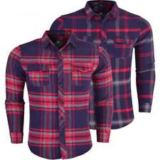 Crosshatch Mens Long Sleeve Check Lumberjack Brushed Flannel Thick Cotton Shirt.