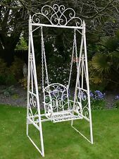 Vintage Outdoor Garden French style Cream Metal Ornate Swinging Bench Chair
