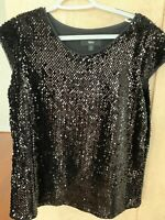 Massimo Black Sequin Top Sleeveless