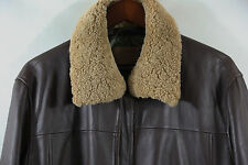 ROBERT COMSTOCK Leather Bomber Jacket Shearling Collar Size 44